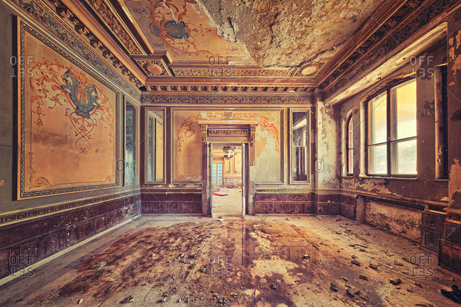 Decaying room in an abandoned chateuau