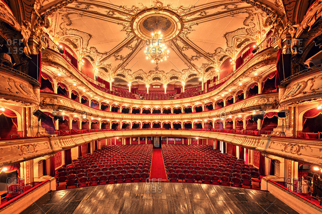 October 10, 2015: View from the stage of the ornate Romanian National Theater, Cluj Napoca