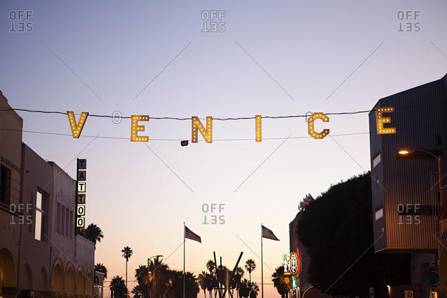 Venice Beach, CA, USA - December 21, 2010: Venice sign at Main Street and Ocean