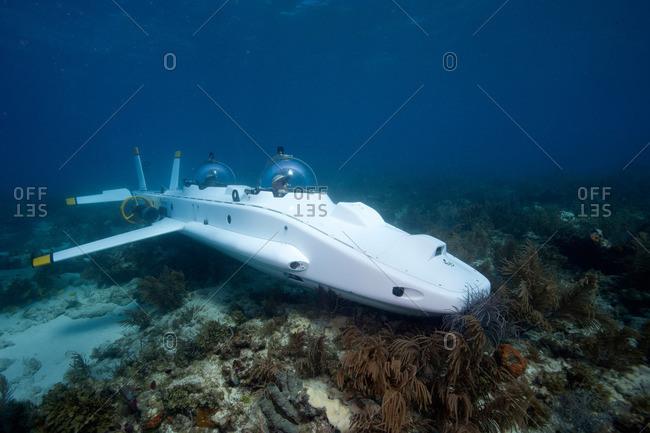 Key Largo, FL, USA - June 8, 2011: Submarine on the coral reef