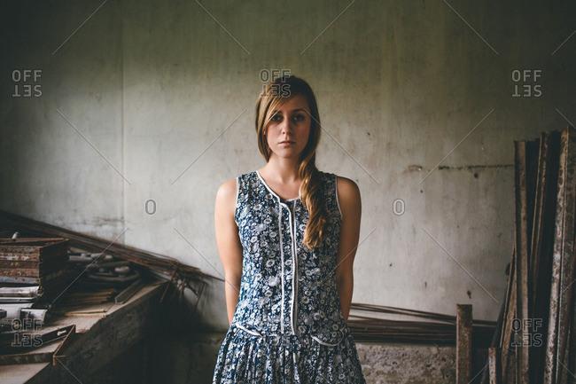 Woman in rustic workshop