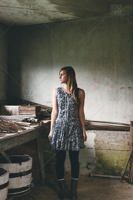 Woman in a rustic workshop