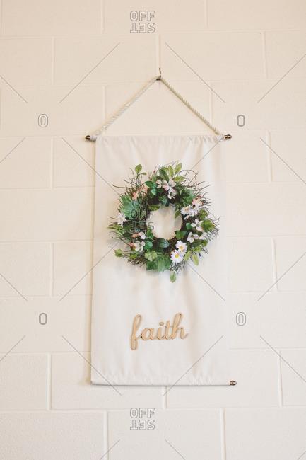 Decorative cloth with wreath