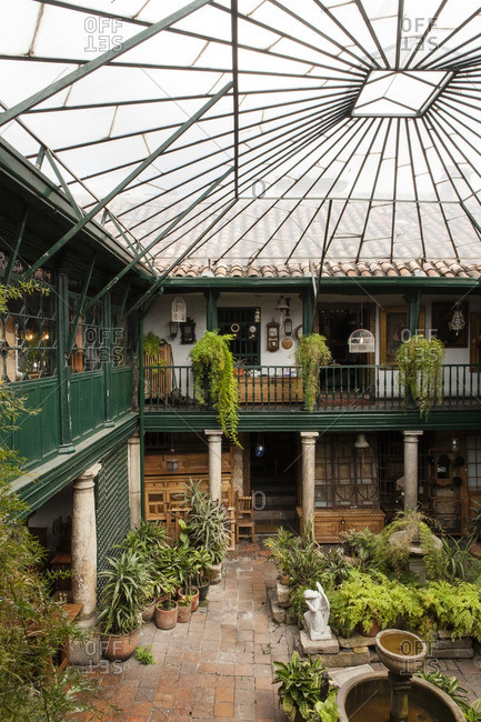Interior courtyard of home, Colombia
