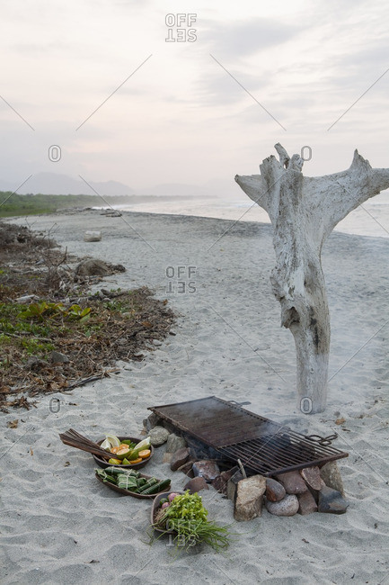 Grill on beach in Colombia