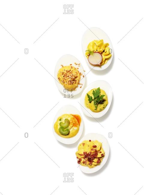 Five deviled eggs