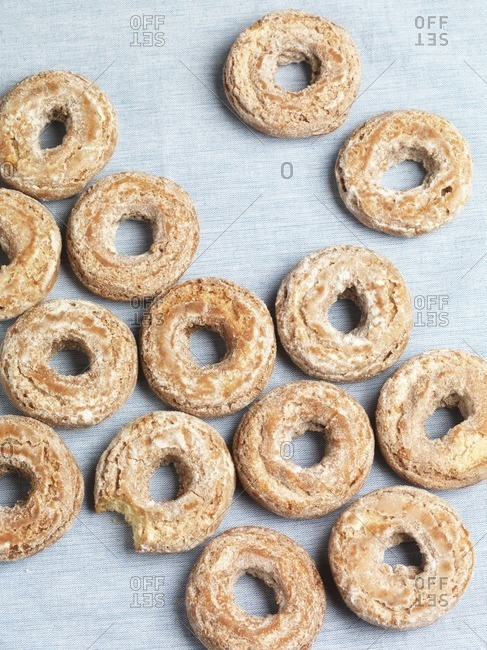 Several doughnuts on light background