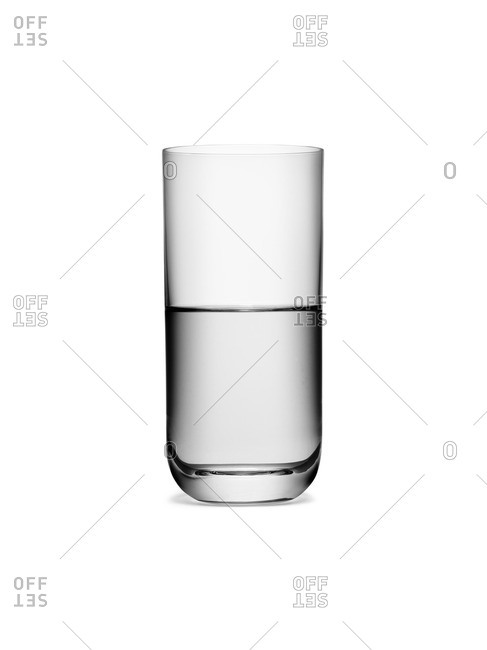 A glass half full of water