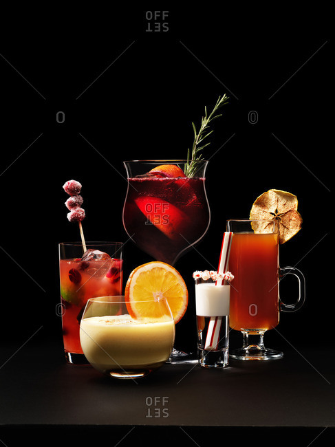 Various cocktails with black background