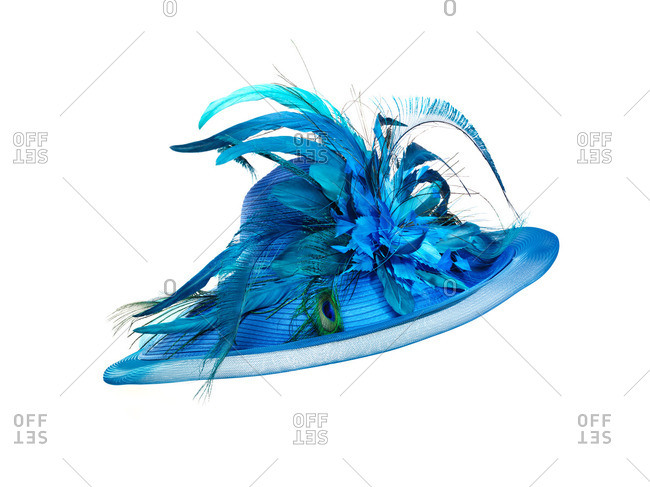 Blue hat with feathers