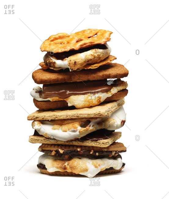 Stack of s'mores on white background