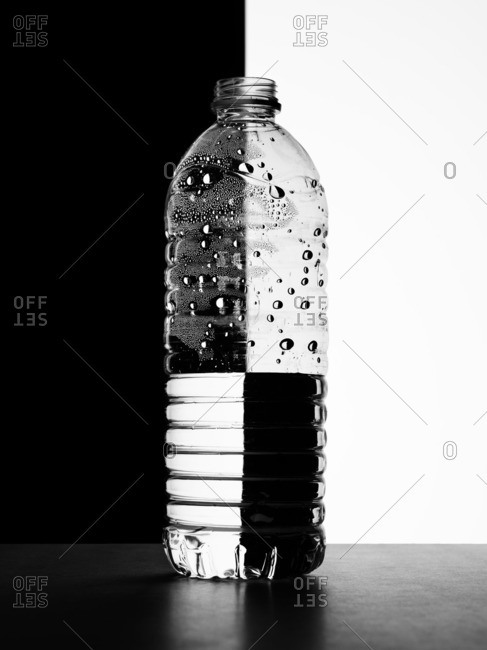 Water bottle on black and white background