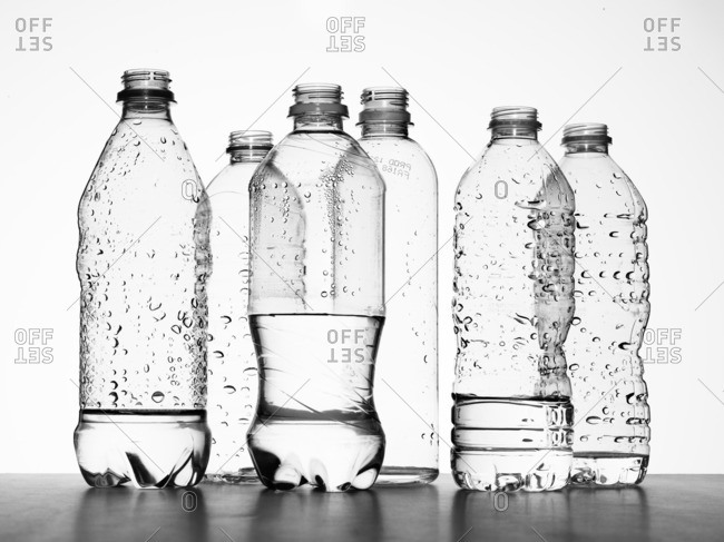 Plastic bottles with water - Offset