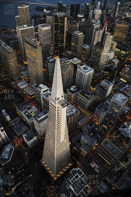 USA, California, San Francisco - March 15, 2016: Aerial view of Transamerica Pyramid