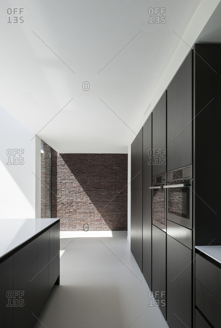 Basel, Belgium - August 1, 2012: A contemporary kitchen in Basel, Belgium
