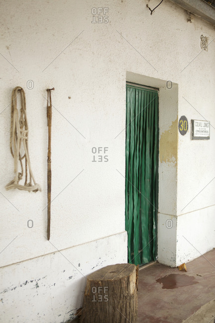 Buenos Aires, Argentina - May 31, 2016: Doorway of building at Liniers Cattle Market, Buenos Aires