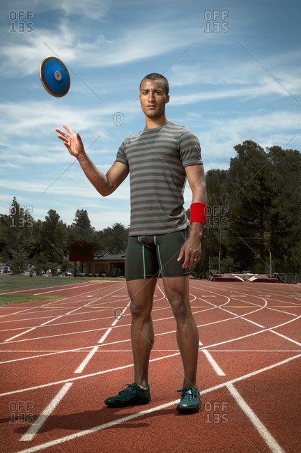 April 30, 2015: Olympic Athlete Ashton Eaton with a discus