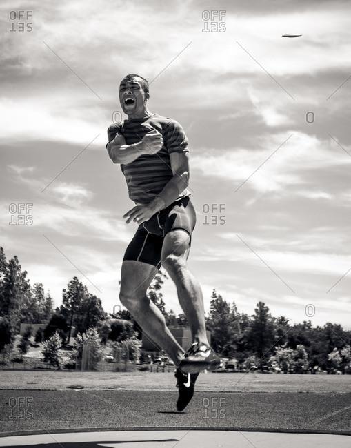 April 30, 2015: Olympic Athlete Ashton Eaton during a throw