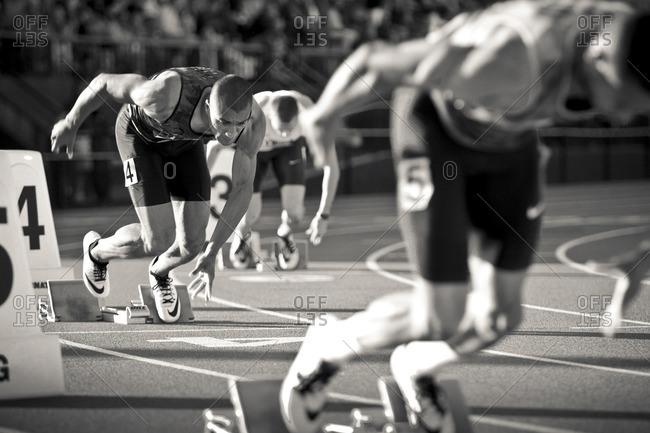May 8, 2015: Olympic Athlete Ashton Eaton starting a race