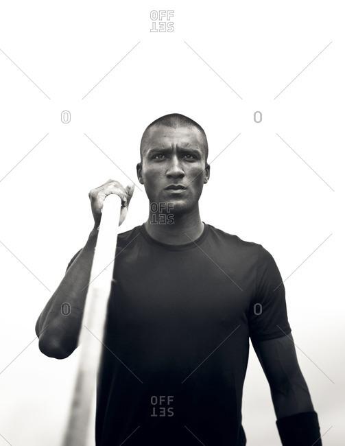 May 6, 2015: Olympic Athlete Ashton Eaton holding vaulting pole