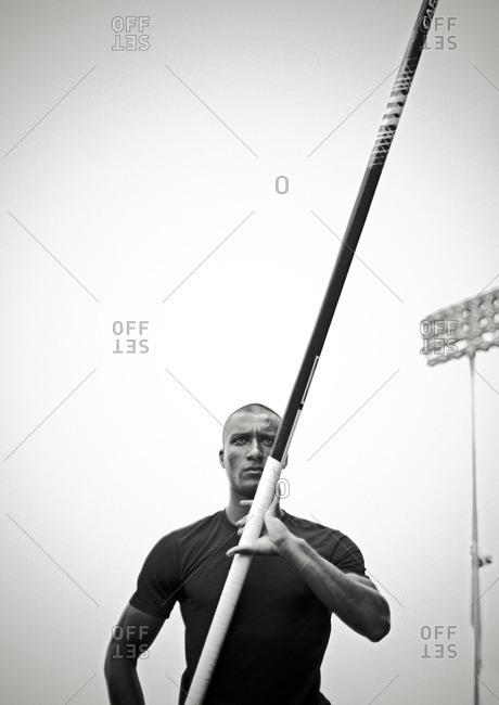 May 6, 2015:Olympic Athlete Ashton Eaton holding vaulting pole