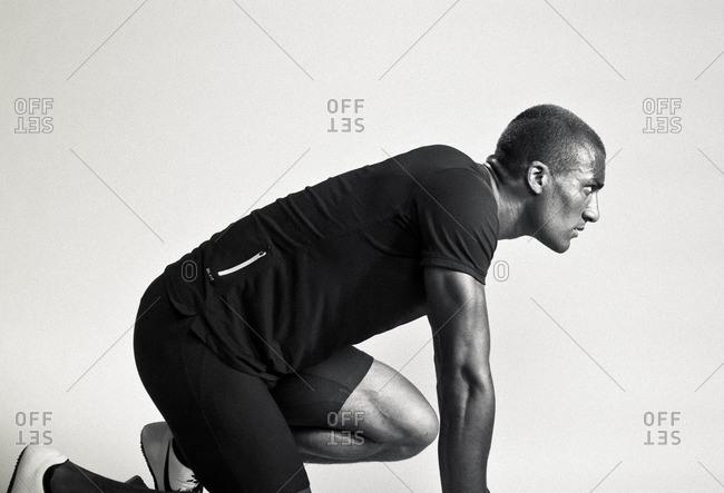 April 28, 2015: Olympic Athlete Ashton Eaton in starting position