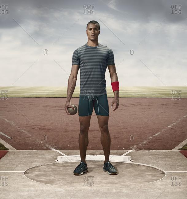 April 30, 2015: Olympic Athlete Ashton Eaton with a shot-put