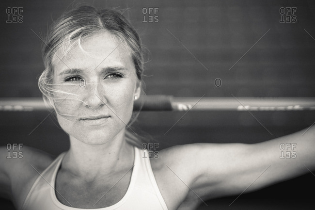 May 6, 2015: Olympic Athlete Brianne Theisen Eaton with javelin