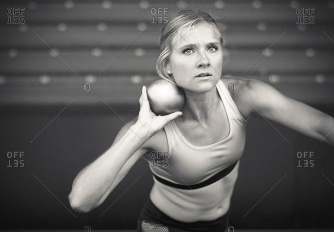 May 6, 2015: Olympic Athlete Brianne Theisen Eaton with a shot-put