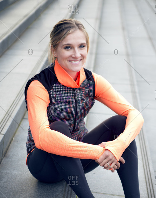 February 9, 2016: Olympic Athlete Brianne Theisen Eaton sitting on stairs