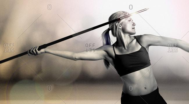 April 28, 2015: Olympic Athlete Brianne Theisen Eaton throwing a javelin