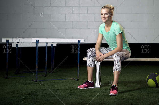 May 7, 2015: Olympic Athlete Brianne Theisen Eaton sitting on a bench