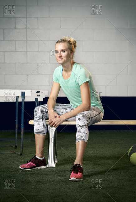 May 7, 2015: Olympic Athlete Brianne Theisen Eaton sitting on bench