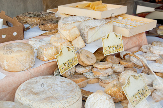 Sheep's cheese on market stall