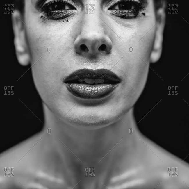 November 7, 2015: Close up of a woman with smudged mascara