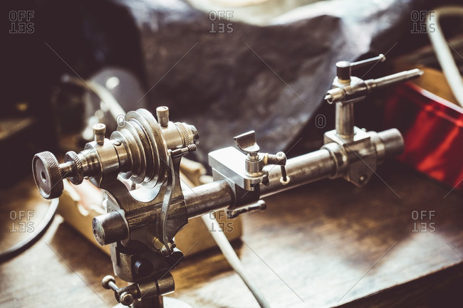 Old horological milling machine in workshop