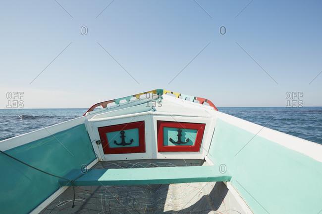 Captain Dennis' boat enroute to the Pelican Bar at Treasure Beach, Jamaica