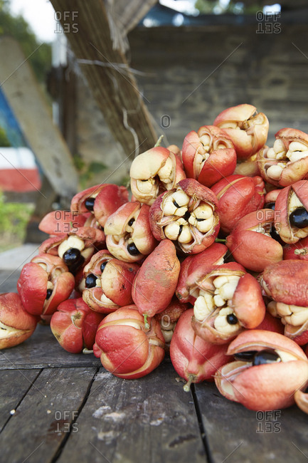 Ackee fruit at a fruit stand near Falmouth, Jamaica