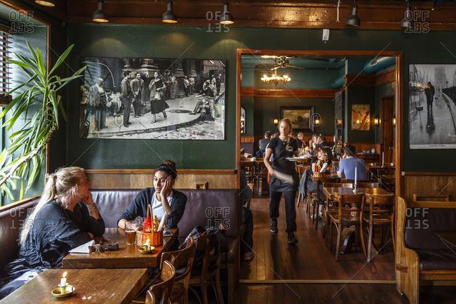 Oslo, Norway - June 27, 2016: Cafe Sara pub at Torggata, Oslo, Norway