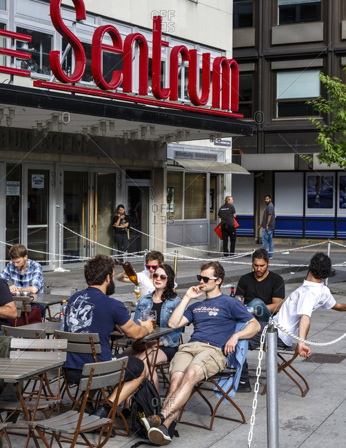 Oslo, Norway - June 28, 2016: People sitting at an outdoor cafe, Oslo, Norway