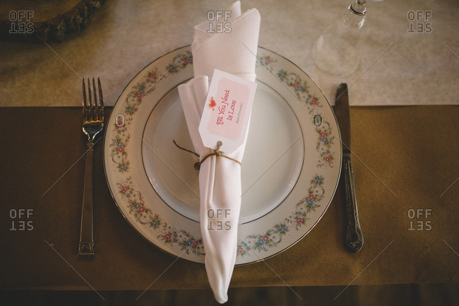 Overhead view of a place setting at a wedding table