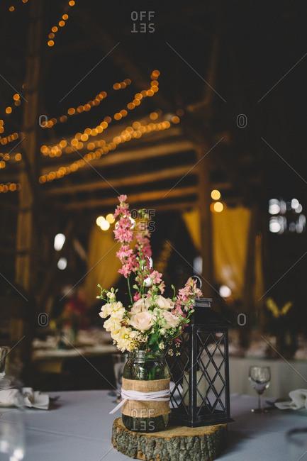 Floral arrangement at a wedding table