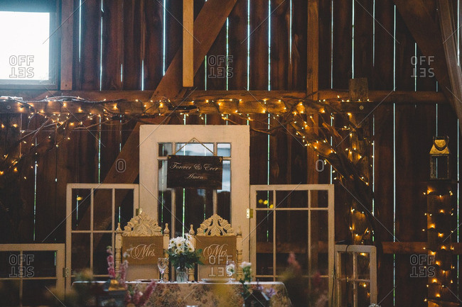 Wedding table in a rustic barn