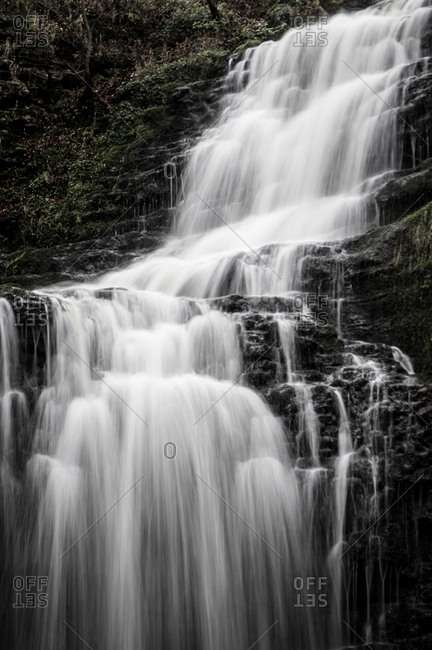 Cascading falls at Scaleber Force waterfall, Yorkshire Dales, Yorkshire, England, United Kingdom, Europe