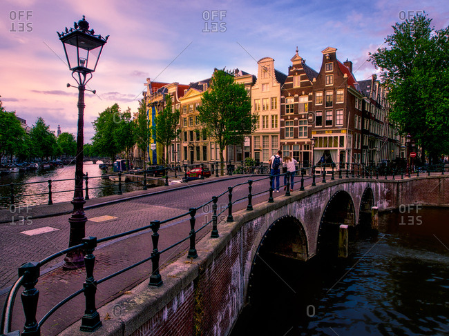 Amsterdam, The Netherlands - May 20, 2014: Sunset view of Keizersgracht Canal, Amsterdam, The Netherlands, Europe