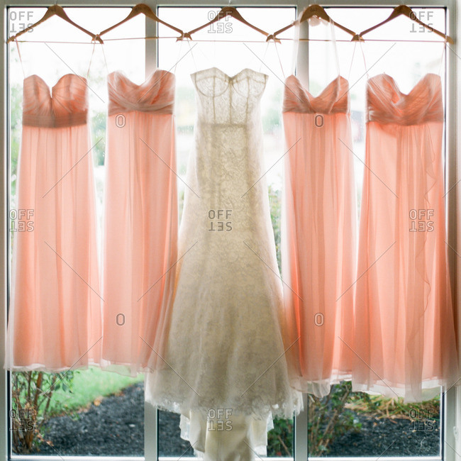 Wedding gown and pink bridesmaid dresses hanging in a window