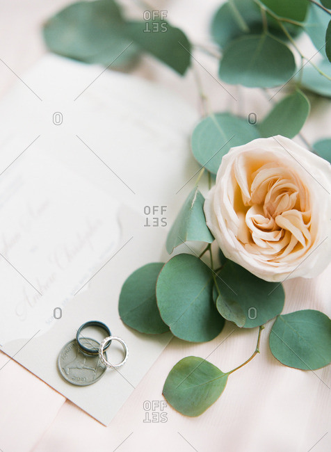 Wedding rings on table by coin and white rose