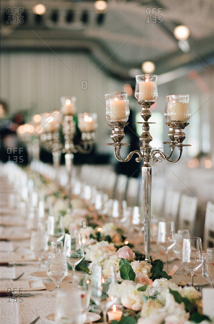 Close up of candelabras on a table at a wedding reception