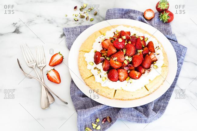 Strawberry tart dessert on a plate