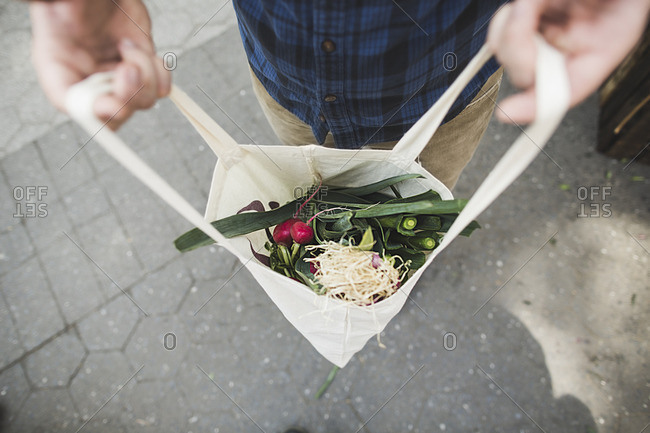Man holding open grocery bag